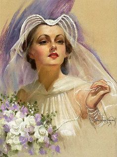 Painting Of A Gorgeous Vintage Bride 1930