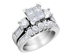 Carat (ctw) Princess Cut Diamond Engagement Rings for women and Wedding Band Set in White Gold – Jewelry & Gifts Wedding Rings Sets Gold, Wedding Band Sets, Diamond Wedding Rings, Bridal Rings, Wedding Jewelry, Diamond Rings, Solitaire Rings, Solitaire Diamond, Diamond Jewelry