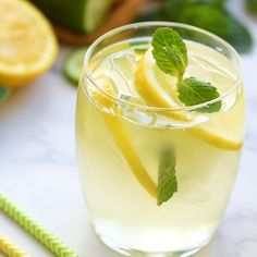 Lightly sweet & tart homemade lemonade with subtle flavors of cucumber and mint.