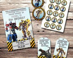 Party Favors and 12 Thank You Cards 12 Packs Transformers Bumble Bee Grab n Go Play Packs