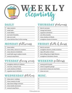 Printable Weekly Cleaning Checklist Spring has sprung, which means it's time for spring cleaning! These printable cleaning checklists will make cleaning your home daily, weekly and monthly a breeze! Just print them off and check as you clean! Weekly Cleaning Checklist, Deep Cleaning Tips, House Cleaning Tips, Cleaning Solutions, Cleaning Hacks, Apartment Cleaning Schedule, Monthly Cleaning Schedule, Cleaning Schedule Templates, Diy Hacks