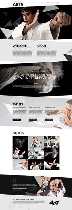 Template 52133 - Martial Arts Responsive Website Template with Slider, Gallery and Animations