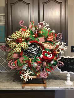 Elf Wreath, Christmas Wreath, Christmas Door Wreath, Door Decor, Christmas  Decor