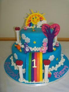 I love this care bear cake too. Celebrate with Cake!: Care Bears Cake girl boys party cake cupcake cake pop birthday rainbow