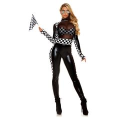 Finish Line Car Racer Costume for Women ($50) ❤ liked on Polyvore featuring costumes, ladies halloween costumes, sexy womens costume, lady halloween costumes, lady costumes and womens snow white costume