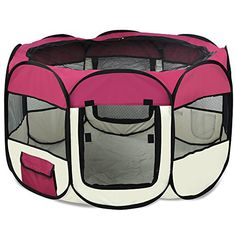 "Yaheetech 45"" Pet Puppy Dog Playpen Exercise Pen Kennel 600d Oxford Cloth with Carry Bag (Burgundy) - http://www.thepuppy.org/yaheetech-45-pet-puppy-dog-playpen-exercise-pen-kennel-600d-oxford-cloth-with-carry-bag-burgundy/"