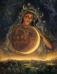 Moon Goddess  Draped in her glimmering veil of stars, the Goddess Selene tenderly guides the moon on its celestial journey, keeping watch over the night-bathed earth. Her face is lit by the gentle glow of moonbeams from the heavens and by the profound power of her own inner peace and love for mankind.