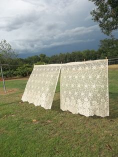 Vintage Lace Curtains Panel French Country Farmhouse by misshettie These would be great for MY farmhouse!