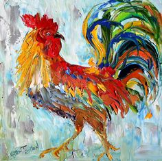 Commission ROOSTER Original Oil painting MODERN by Karensfineart