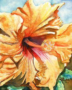 Tropical Hibiscus 3 8x10 print from Kauai Hawaii yellow orange