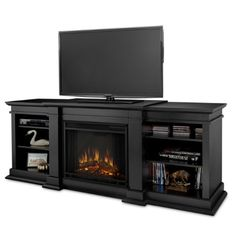 Combine your fireplace, living room storage, and media center into one unit and purchase the Real Flame Fresno Indoor Electric Fireplace/Entertainment Center Gel Fireplace, Media Fireplace, Fireplace Heater, Fireplace Console, Fireplace Furniture, Black Fireplace, Fireplace Ideas, Fireplace Design, Console Table