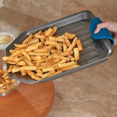 CHEFS Nonstick French Fry Baking Sheet Nonstick French fry pan bakes crispy, low-fat golden French fries, without frying in oil or turning. $24.95
