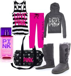 """Victorias secret pink lounge time"" by litlmarn on Polyvore"