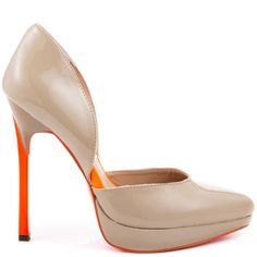 You'll love the simple shade of this style yet fun pop of color!  The Too Thrust by 2 Lips features a black patent upper with a D'orsay form and almond shaped toe.  A 4 inch heel and slight 3/4 inch platform completes this striking style.