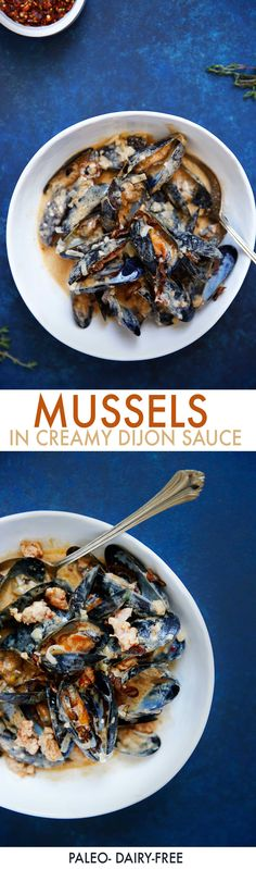 Mussels with Creamy Dijon Sauce (grain-free, 30 minutes or less, dairy-free, refined sugar-free} | Lexi's Clean Kitchen