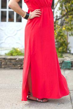 pink silk maxi dress