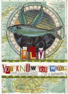 Fly Original Art Journal Collage by Shellypaints on Etsy