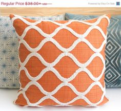 Labor Day Sale Orange and cream tufted trellis by pillowflightpdx