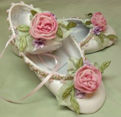 Flower Girl Ballet Shoes Ribbon Work Flowers Fairy Princess Roses.