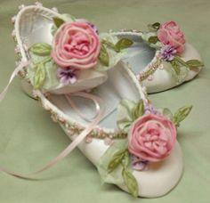 Flower Girl Ballet Shoes Ribbon Work Flowers Fairy Princess Roses.