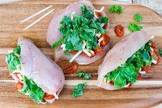 Dried Tomato Kale Mozzarella Stuffed Chicken