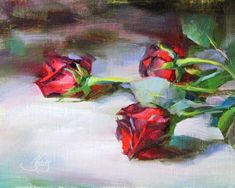 """Daily+Paintworks+-+""""Red+Roses""""+-+Original+Fine+Art+for+Sale+-+©+Pamela+Blaies"""
