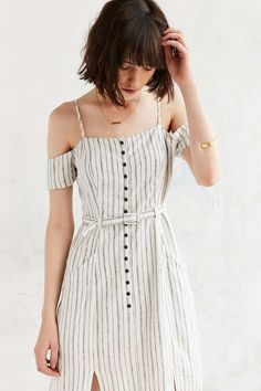 Urban Outfitters Adele Off-The-Shoulder Ivory Striped Dress