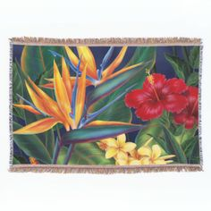 This original digital painting by renowned illustrator Jeff Fillbach is an explosion of the colors of some of nature's most beautiful flowers. Featuring an array of birds of paradise, plumeria and hibiscus, the items in our Tropical Paradise collection will lift your spirits, and fuel your dreams. Bring paradise to your home or office today. #bird #of #paradise #hawaii #hawaiian #hibiscus #plumeria #flowers #floral #tropical #flora #hawaiian #islands #tropical #islands #hawaiian #flowers ...