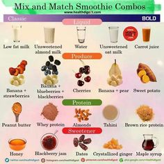Mix and match smoothie combos.