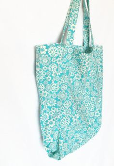 Teal and White Flower Print Tote Bag  by AbigailsAttic112, #maineteam #etsy #handmade #shoppingbag #ecofriendly