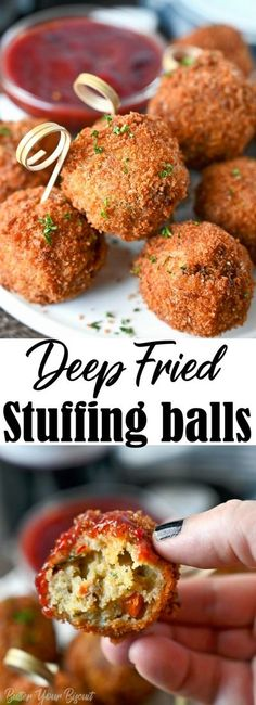Deep-fried stuffing balls are a delicious way to use up those holiday leftovers. Great for just snacking, game day, or holiday gatherings. #stuffing #thanksgivingleftovers Easy Weeknight Meals, Easy Meals, Stuffing Balls Recipe, Traditional Thanksgiving Recipes, Easy Holiday Recipes, Appetizer Recipes, Appetizers, Leftovers Recipes, Sweet Potato Casserole