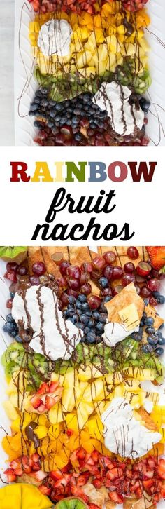 Healthy Recipes : RAINBOW FRUIT NACHOS ARE A FUN AND YUMMY WAY TO INCLUDE AN EASY DESSERT WHILE GE... #Recipes