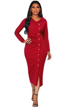 4085be1a2735 Stylish Red Button Up Front Slit Sheath Midi Dress