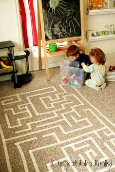 Masking tape maze (or roads or railroad tracks!) for free play