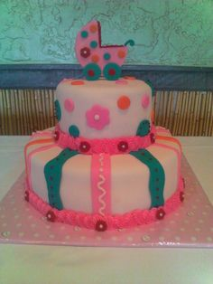 Lizzie Cottontale Made to match theme for Baby Girl Shower. Carriage and decor is Fondant.