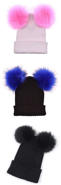 8db2b80cada11b 1pc cute winter women crochet knitted hats skull caps ladies knitting wool  cap double fur ball
