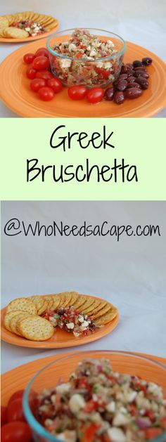 Greek Bruschetta | Who Needs A Cape? Delicious for dipping, spreading or just plain snacking!