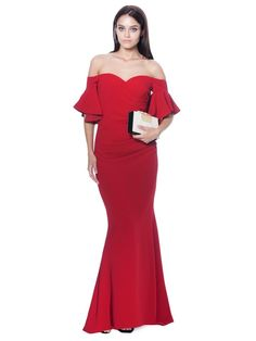 BADGLEY MISCHKA Off-The-Shoulder Ruched Crepe Evening Gown. Elilhaam 0ecb5ca8a