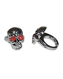 Skull Ring - The Skull Ring contains 30 silver, plastic skull rings with red eye details. Halloween Accessories, Costume Accessories, Jewelry Accessories, Spirit Halloween, Halloween Party, Halloween Stuff, Eye Details, Jewelry Rings, Silver Rings