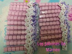 Paquetes con el nombre en jabon. Bautizo Violeta. Vera, Almeria