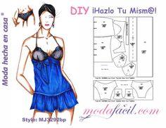 Descarga gratis el Patrón de Baby Doll o Pijama para mujeres disponible en 12 tallas trazadas individual incluyendo las Tallas PETITE y Tallas EXTRAGRANDES.