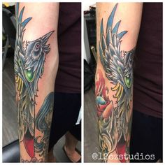 Rad neo-traditional style crow tattoo part of a sleeve work in progress by Chris Curtis.