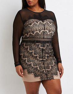 Plus Size Lace & Mesh Bodycon Dress