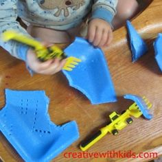 Foam plate sensory play: breaking it, poking it, cutting it, etc! I recommend never throwing away your foam plates before using it to it's fullest potential!