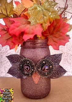 DIY Owl Mason Jars...these are the BEST Fall Craft Ideas & DIY Home Decor Projects!