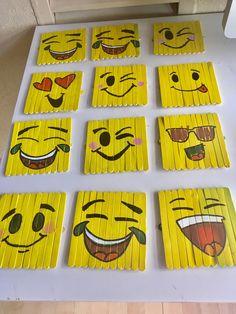 Emojis made of popsicle sticks