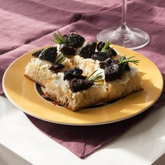 Fig & Gorgonzola Toasts. We like to serve these savory sweet toasts with a fruity red wine.