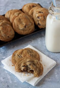 Thick, Chewy Chocolate Chip Cookies - the perfect chocolate chip cookie if you like a tender, thick, chewy chocolate chip cookie.