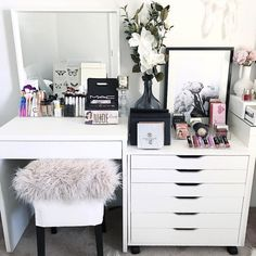 Lazy Sundays  . - IKEA Alex 6 Drawer unit - IKEA Stool - IKEA Mirror - Officeworks student desk. - All acrylic makeup storage @vanitycollections