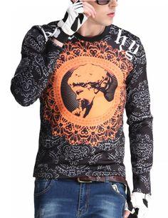 Men's Fashion Slim Long Sleeve Retro Print T-shirt Orang-Black XL equal to American M - Yesfashion.com in Free Shipping